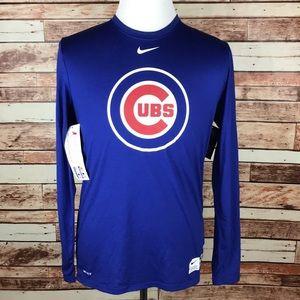 db8cd011 Nike MLB Shirts | Chicago Cubs Blue Nike Dri Fit Long Sleeve Medium ...